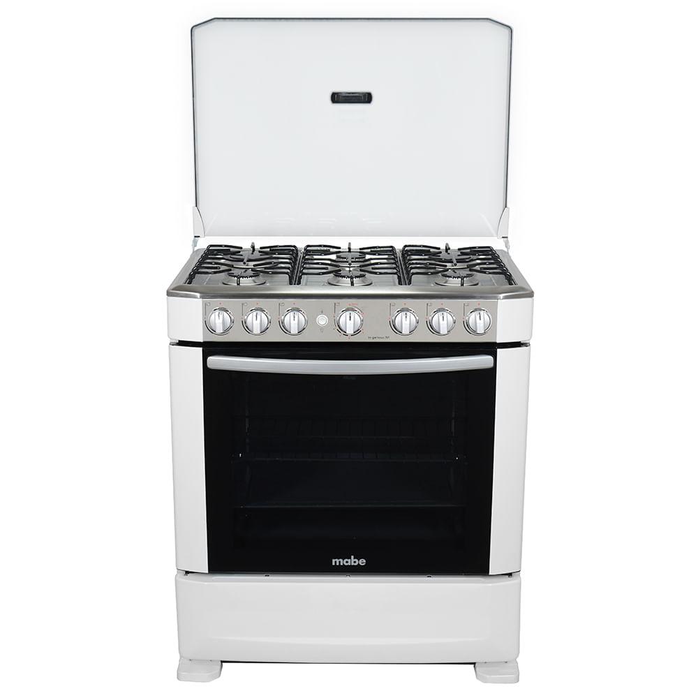 Cocina a gas ingenious 76cm blanca mabe ingenious7610eb0 for Cocina blanca electrodomesticos blancos