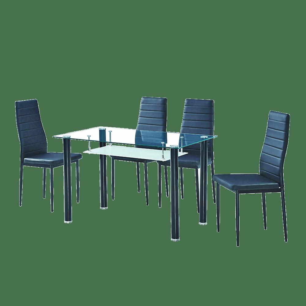 Mesa Comedor Betis 120x70 4 Sillas Negro Color Metal