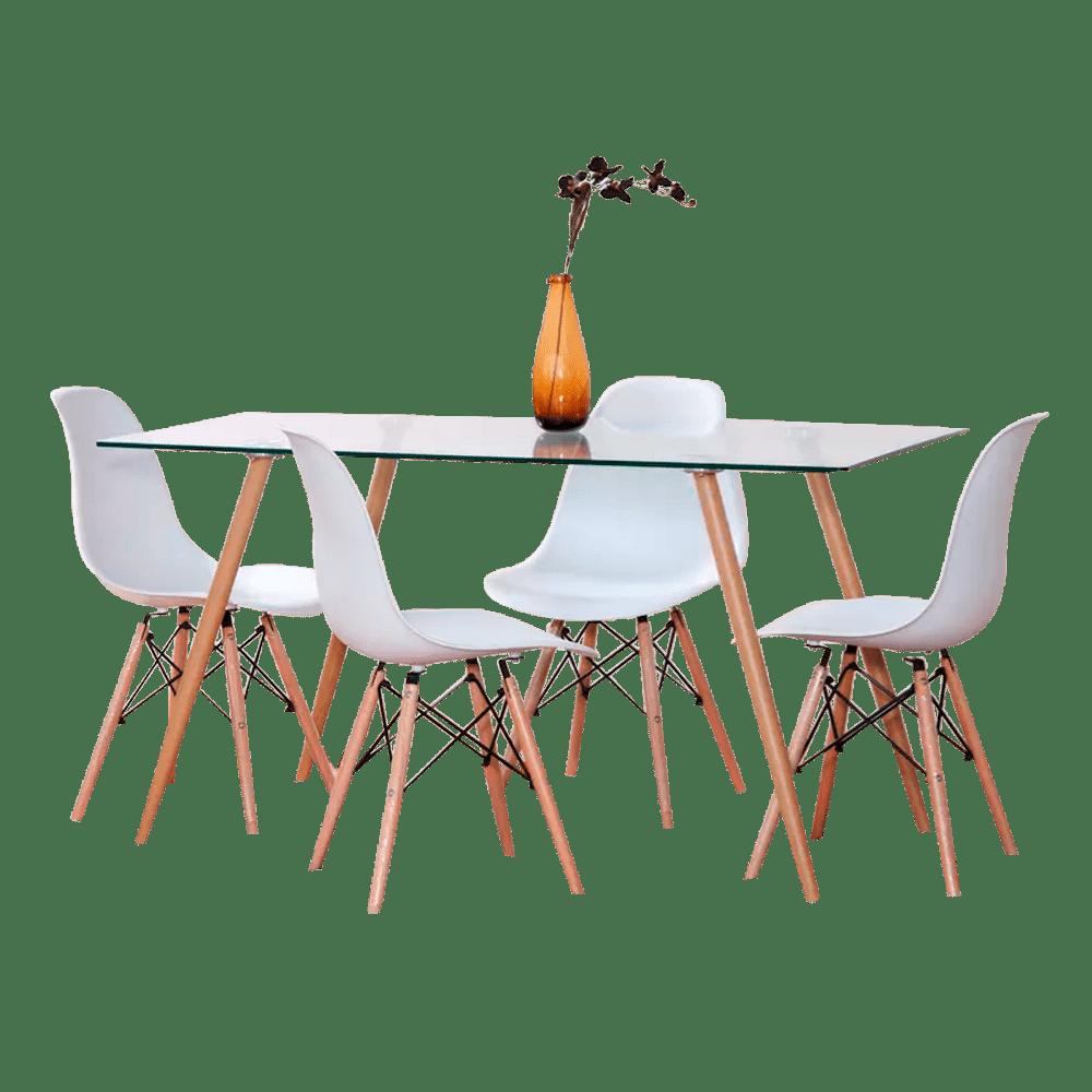 Mesa comedor set fisher 1 4 sillas dise o vidrio y madera for Set sillas comedor