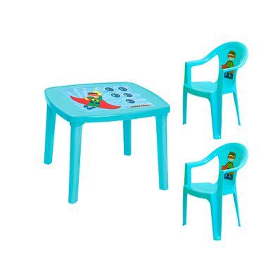 Combo-Infantil-Plapasa-1-Mesa-Desarmable-Toy-y-2-Sillas-con-Brazo-Super-Turquesa-3058ESC2TURPA-W